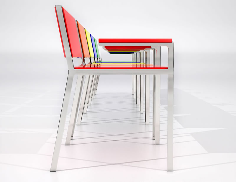 Rendering of brightly colored chairs with built in laptop desks