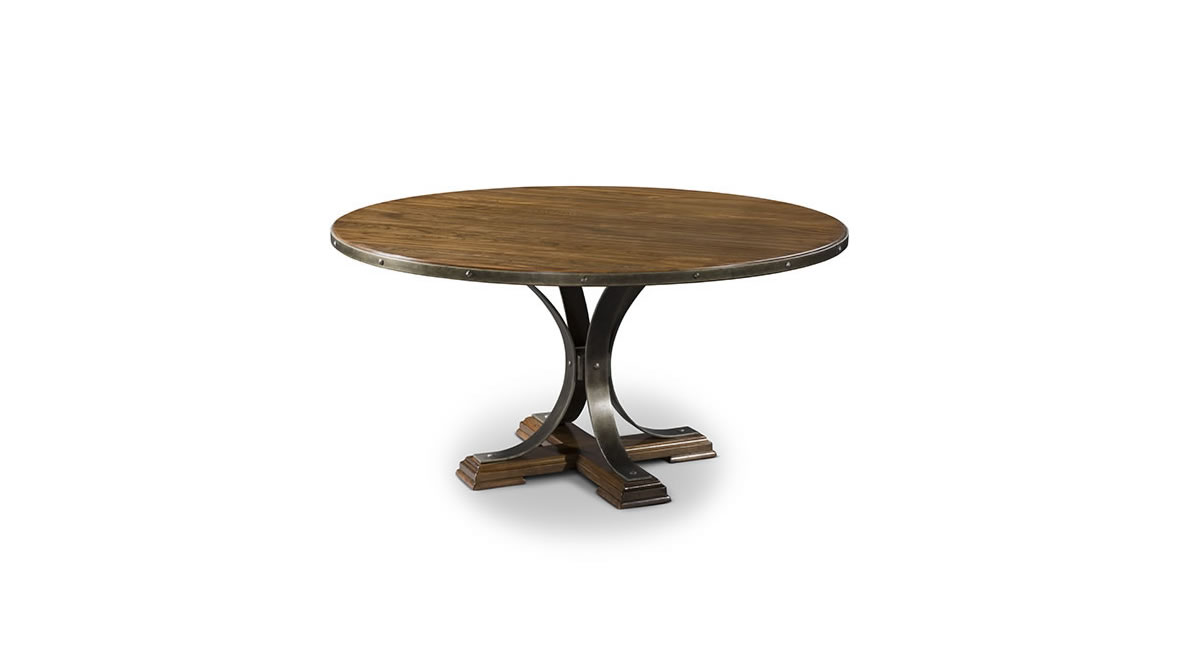 Round solid wood dining table with riveted metal band on top and curved metal legs